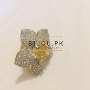 american diamond ring, party wear