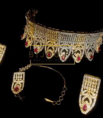 Necklace, zircon, dualtone, maang tika