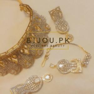 Goldplated Zircon Necklace set for ladies