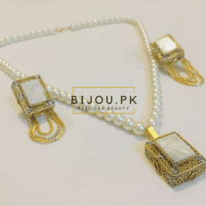 White Onyx Pearl Ethnic Necklace Set for women in Pakistan