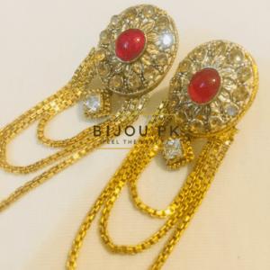 CZ & Ruby Dangle Earrings for women in Pakistan