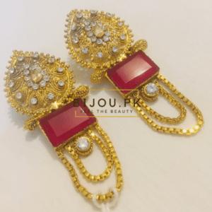Dim Gold Dropping Ruby Earrings for women in Pakistan