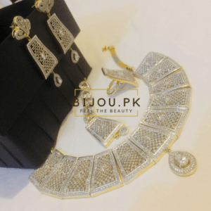 GoldPlated AD Zircone Necklace Set with Ring for women
