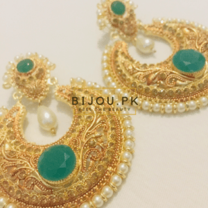 Pearls & Emerald Golden Earrings for women in Pakistan