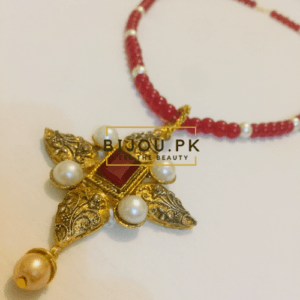 Medieval Ruby & Pearls Pendant Mala for women in Karachi