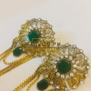CZ & Emerald Dropping Earrings for women in Pakistan
