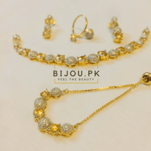 AD/CZ Necklace Set with Bracelet & Ring in Pakistan