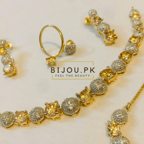 AD / CZ Necklace Set with Bracelet & Ring