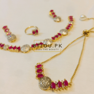 ruby AD necklace set witb bracelet & Ring