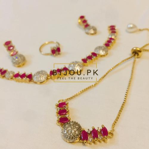 ruby AD necklace set witb bracelet & Ring