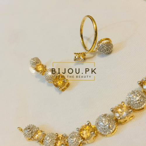 Ladies AD/CZ Necklace Set with Bracelet & Ring