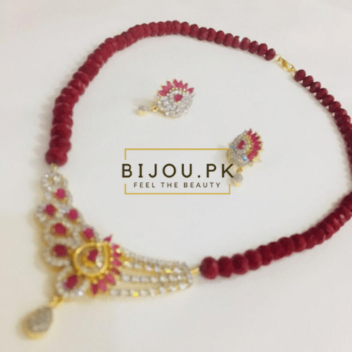 ruby beads zircone necklace with earrings