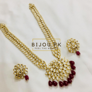 Kundan Neckalce Set with Earrings- Ruby