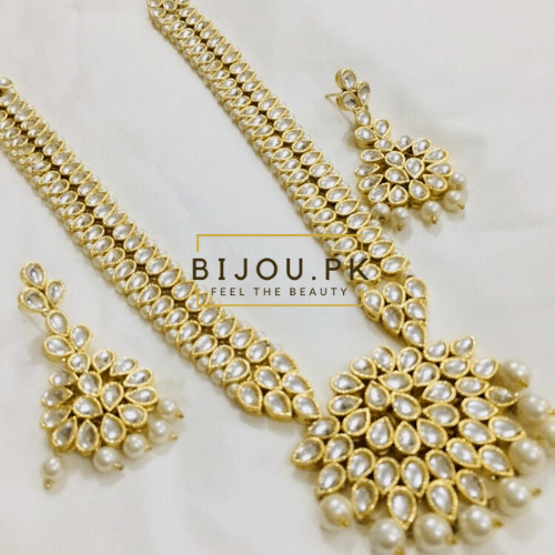 Pearl Kundan Necklace with Earring