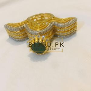 party wear golden american diamond ring, bijou.pk