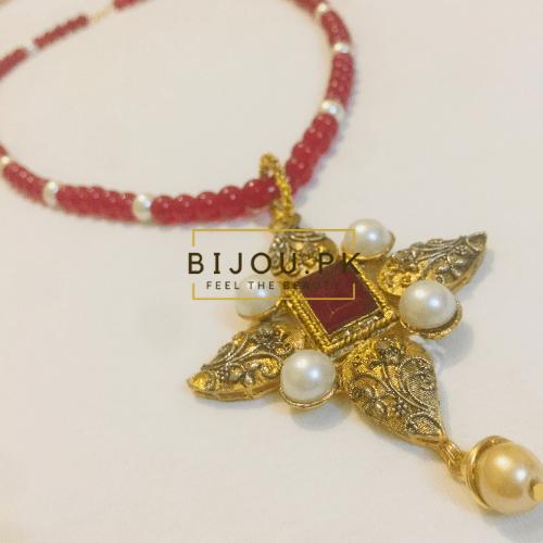 Medieval Ruby & Pearls Ladies Pendant Mala