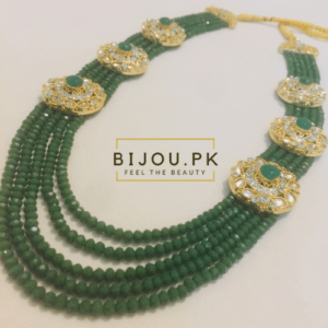 Emerald Beads Kundan Mala for women in Pakistan
