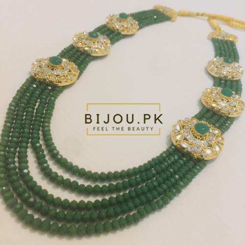 Emerald Beads Kundan Mala for women in Pakistan