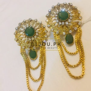 CZ & Emerald Dropping Earrings for women in Pakistan