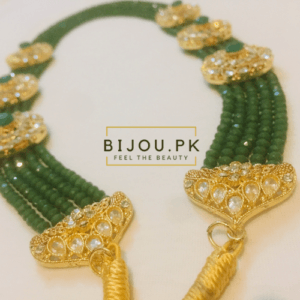 Emerald Beads Kundan Mala for women in Karachi