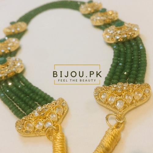 Emerald Beads Kundan Mala for women in Karachi