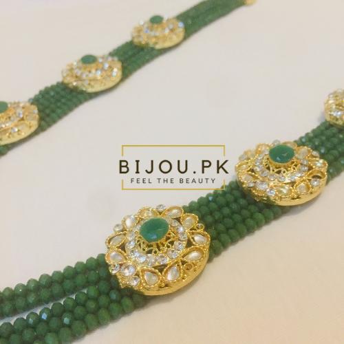 Emerald Beads Kundan Mala for women