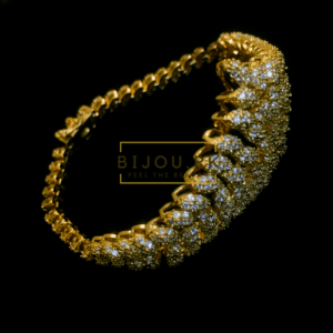 Gold Plated AD CZ Statement Bracelet