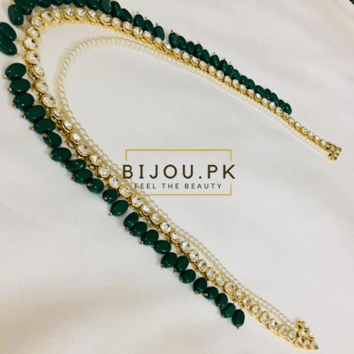 Dual-string Kundan Pearl Emerald Mala