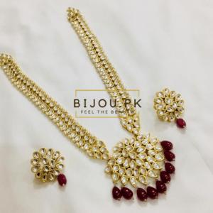 Kundan Neckalce Set with Earrings- Ruby
