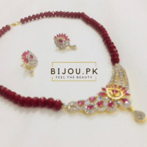 ruby beads necklace with earrings