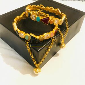 Golden Multi Stoned Lockable Bangles