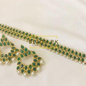 Emerald Kundan Choker Set